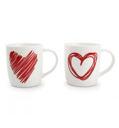 SET 2 BEKERS 35cl RED HEARTS ASSORTI
